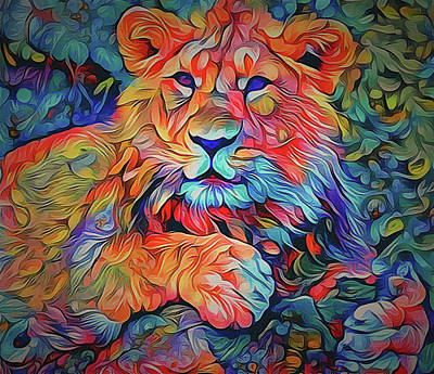 House Pet Digital Art - Lion In Burst by Yury Malkov
