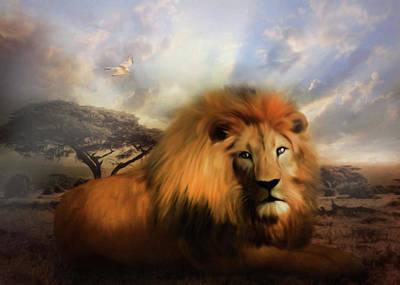 Lion In Winter Print by Georgiana Romanovna