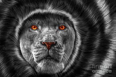 Lion Lady   -3 Print by Prar Kulasekara
