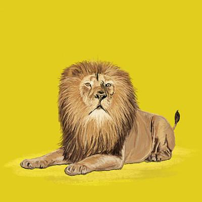 Lion Painting Print by Setsiri Silapasuwanchai