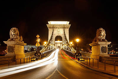 Budapest Photograph - Lion Sculptures Of The Chain Bridge by George Oze