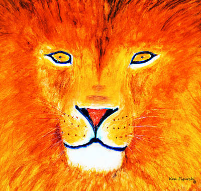 Animal Painting - Lion Selfie Color Pop by Ken Figurski