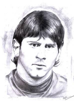Messi Drawing - Lional Messi Portrait by Arun Mathew