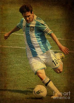 Lionel Andres Messi Argentine Footballer Fc Barcelona  Print by Lee Dos Santos