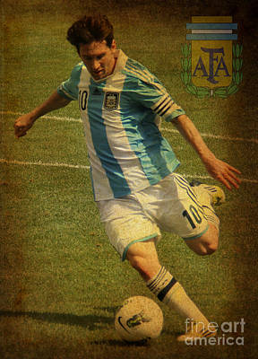 Lionel Messi Kicking Iv Print by Lee Dos Santos