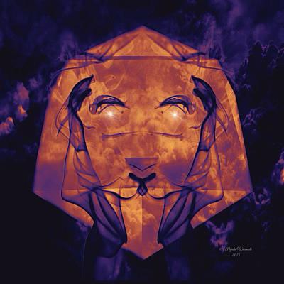 Cool Lion Digital Art - Lioness Amethyst 1 by Majula Warmoth