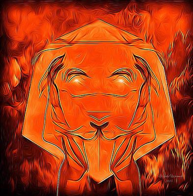 Cool Lion Digital Art - Lioness Gold by Majula Warmoth