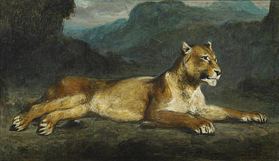 Painting - Lioness Reclining by Eugene Delacroix