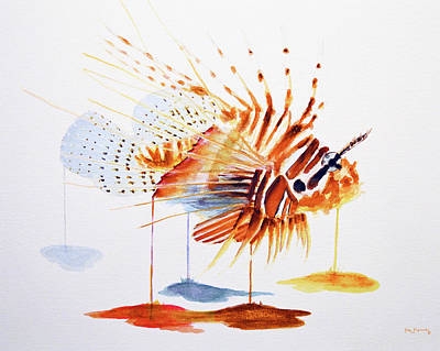 Fish Painting - Lionfish by Ken Figurski