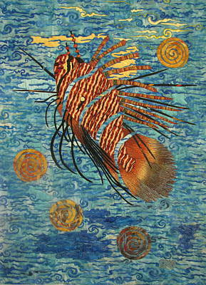 Wildlife Tapestries - Textiles Tapestry - Textile - Lionfish by Lynda K Boardman