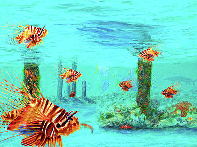 Lionfish Mixed Media - Lionfish Reef by Ken Figurski
