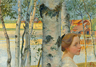 Carl Larsson Painting - Lisbeth By The Birch Tree by Carl Larsson