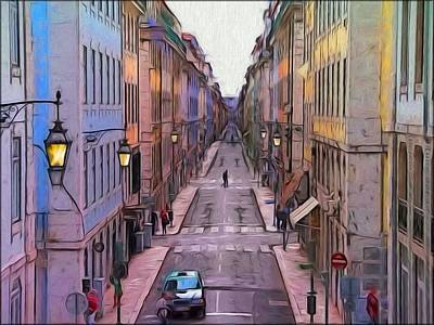 Impressionist Photograph - Lisbon Impressions - The Street by Daniel  Arrhakis