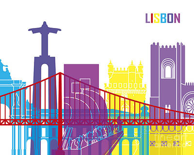 Portugal Art Painting - Lisbon Skyline Pop by Pablo Romero
