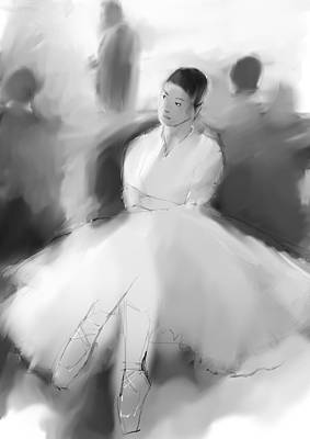 Tutus Drawing - Listening by H James Hoff