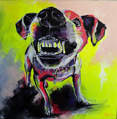 Growling Painting - Little Angry One by Gabriela Holcer
