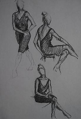 Male Nude Drawing Drawing - Little Black Dress X Three by Chris  Riley