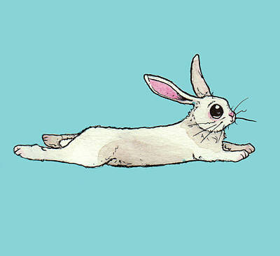 Rabbit Drawing - Little Bunny Rabbit by Katrina Davis