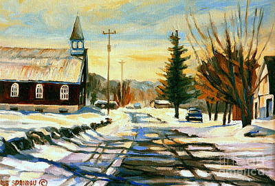Montreal Winter Scenes Painting - Little Country Church In Winter Rural Quebec   by Carole Spandau