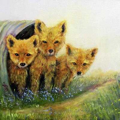Little Foxes Print by Loretta Luglio
