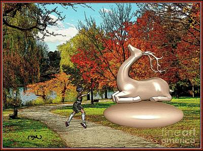 Little Girl Dancing In Front Of The Statue Of The Deer Original by Pemaro