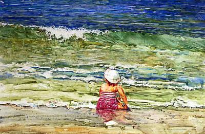 Sand Castles Painting - Little Girl On The Beach by Shirley Sykes Bracken