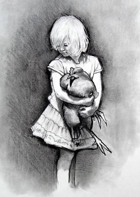 Drawing - Little Girl With Pet Chicken by Joyce Geleynse