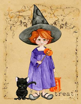 Witch Cat Painting - Little Halloween Witch by Cindy Garber Iverson