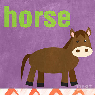 Purple Painting - Little Horse by Linda Woods