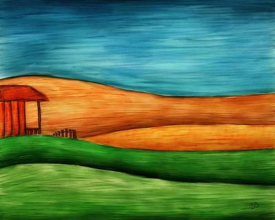 Little House On Hill Print by Brenda Bryant