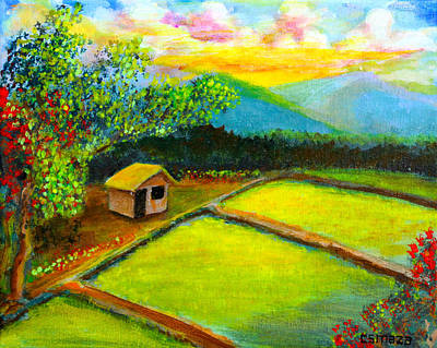Nipa House Painting - Little Hut In The Farm by Cyril Maza