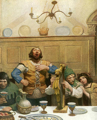 Little John Sings At The Banquet Print by Newell Convers Wyeth