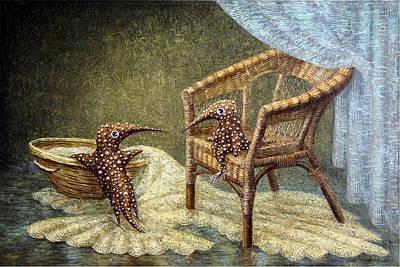 Birdman Painting - Little Love Story by Lolita Bronzini