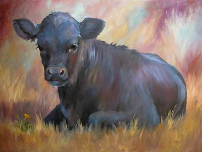 Little Moo  Angus Calf Painting Southwest Art Original by Kim Corpany