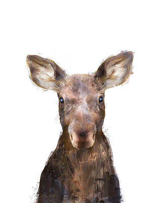 Babies Mixed Media - Little Moose by Amy Hamilton