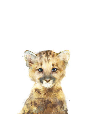 Babies Mixed Media - Little Mountain Lion by Amy Hamilton