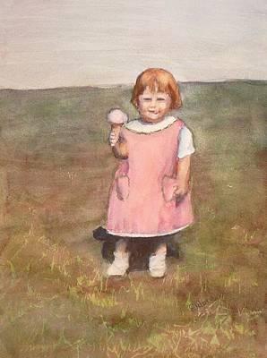 Little Pink Apron Original by Eldora Schober Larson