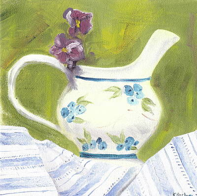 Little Pitcher With Pansies Print by Kathryn B