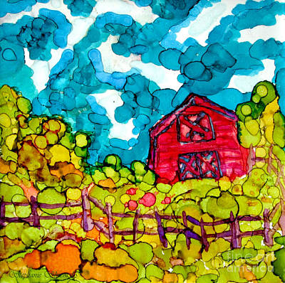 Little Red Barn Print by Stephanie  Skeem