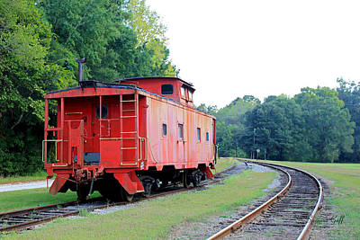 Caboose Digital Art - Little Red Caboose Enhanced by Suzanne Gaff