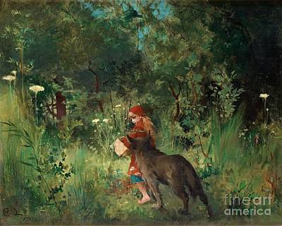 Little Painting - Little Red Riding Hood And The Wolf In The Forest by Celestial Images