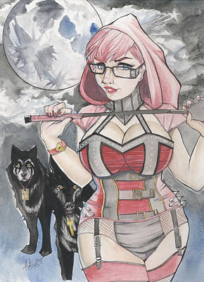 Dominatrix Drawing - Little Red Riding Hood by Jimmy Adams