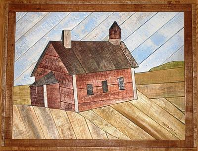 Schoolhouse Mixed Media - Little Red Schoolhouse Lathart by Rod Skramstad