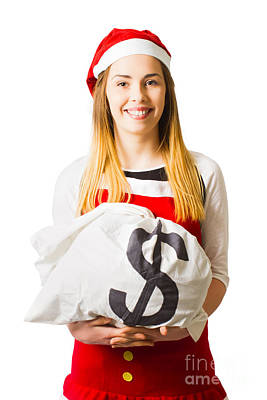 Little Santa Helper With Dollar Sign Money Bag Print by Jorgo Photography - Wall Art Gallery