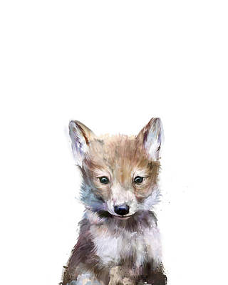 Babies Mixed Media - Little Wolf by Amy Hamilton