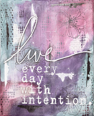 Handcrafted Mixed Media - Live Every Day - Muted by KJ DeWaal