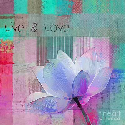Pink Flowers Digital Art - Live N Love - 2922a by Variance Collections