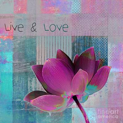 Pink Flowers Digital Art - Live N Love - 89cc by Variance Collections