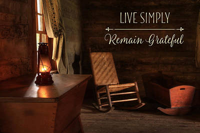 Log Cabins Mixed Media - Live Simply by Lori Deiter