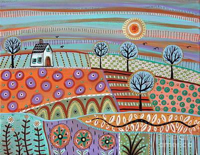 Modern Folk Art Painting - Lively Landscape by Karla Gerard